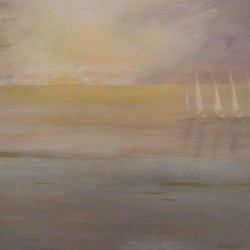BOATS IN THE MIST 80cm x 70cm Acrylic on canvas