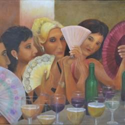 FAN GIRLS 108cm x 89cm Oil on canvas