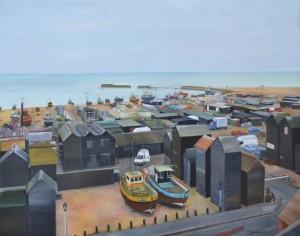 FISHERMEN'S HUTS 100cm x 80cm Oil on canvas