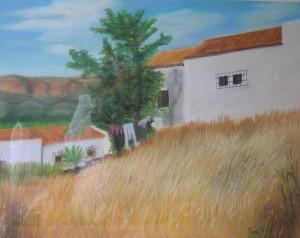 GATA FARMHOUSE 80cm x 60cm Pastel on canson