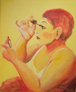 LADY PUTTING ON MAKE-UP 50cm x 70cm Acrylic on canvas