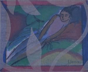 SLEEPING LADY Mini 20cm x 19cm Oil on canvas paper