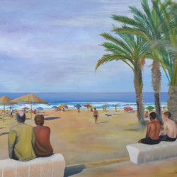 SUNBURNT ON THE ARENAL 103cm x 84cm Oil on canvas