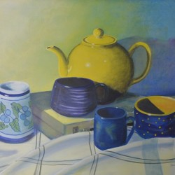 THE TEAPOT AND FRIENDS 103cm x 83cm Oil on canvas